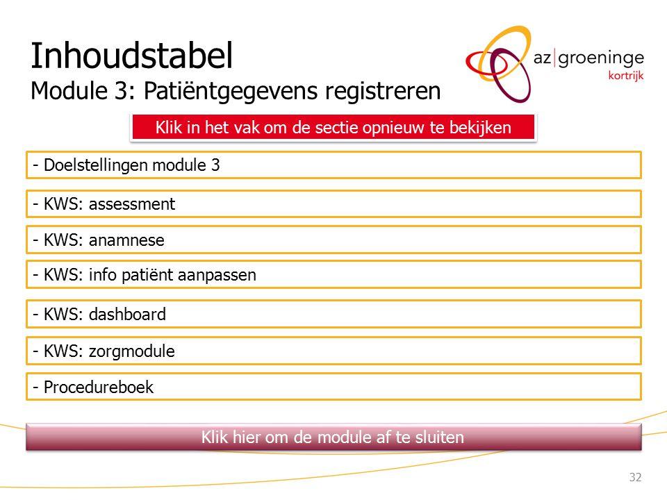 Inhoudstabel Module 3: Patiëntgegevens registreren