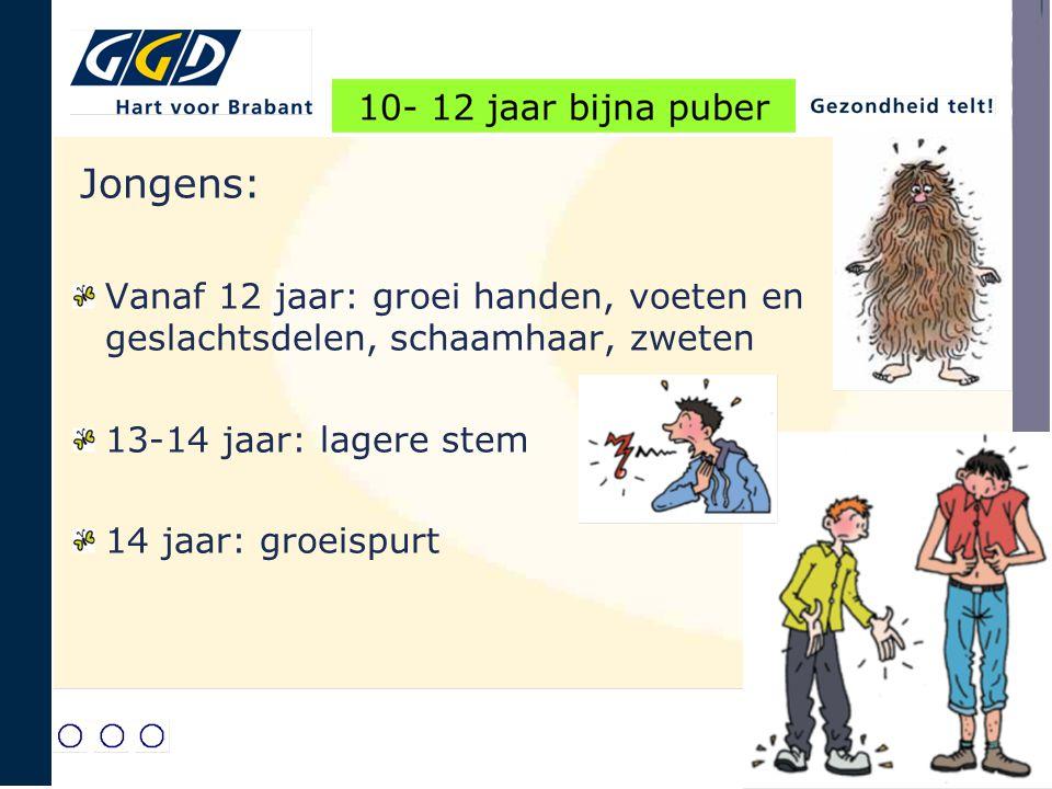 Jongens: Vanaf 12 jaar: groei handen, voeten en geslachtsdelen, schaamhaar, zweten. 13-14 jaar: lagere stem.