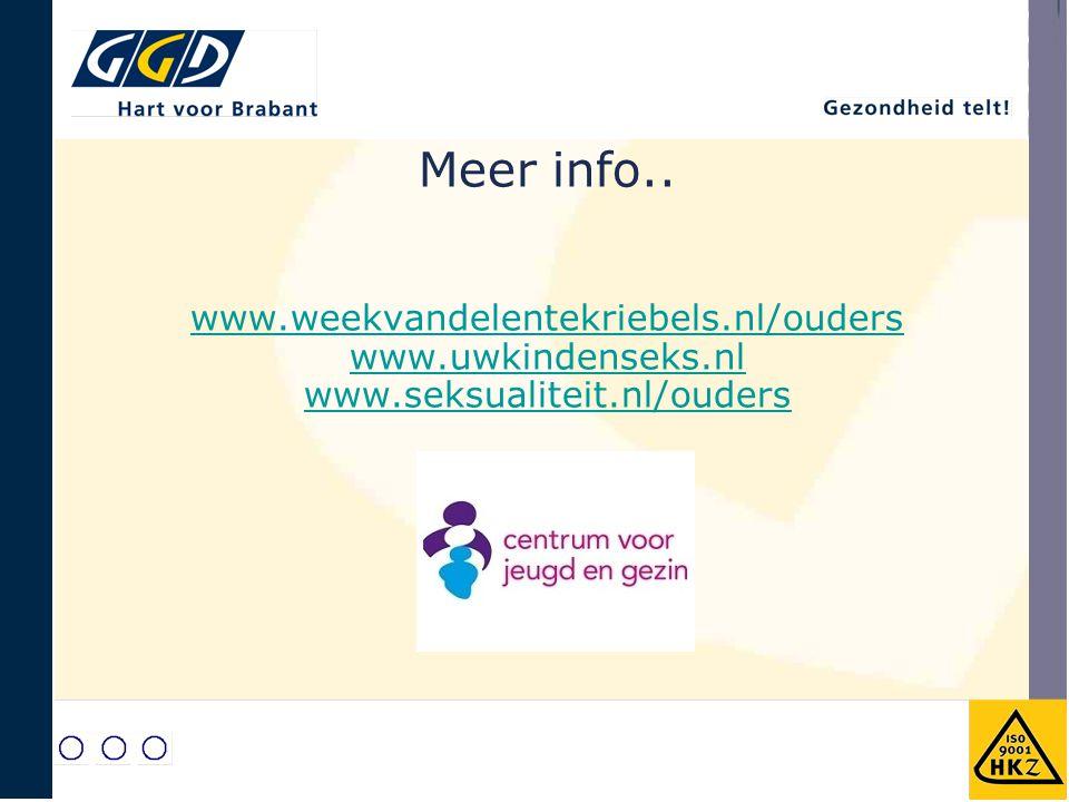 Meer info. www. weekvandelentekriebels. nl/ouders www. uwkindenseks