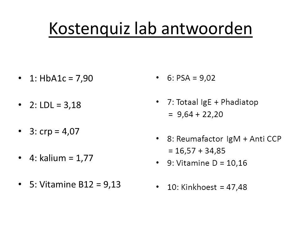 Kostenquiz lab antwoorden