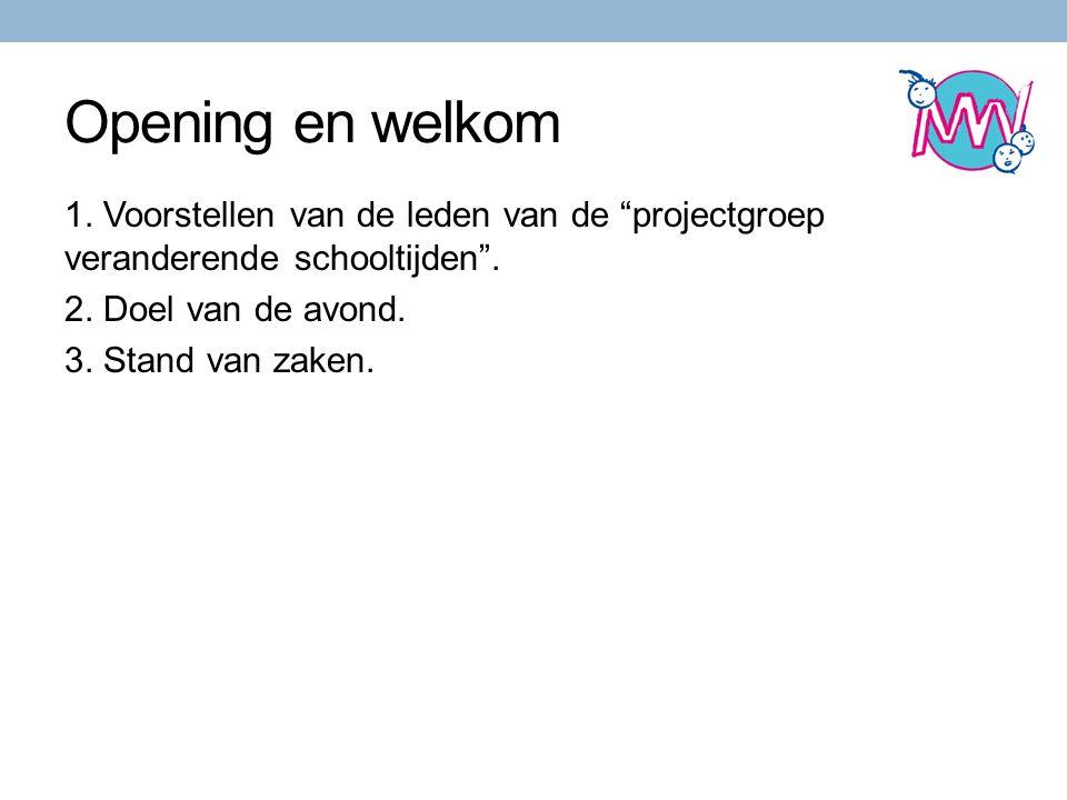 Opening en welkom 1. Voorstellen van de leden van de projectgroep veranderende schooltijden .