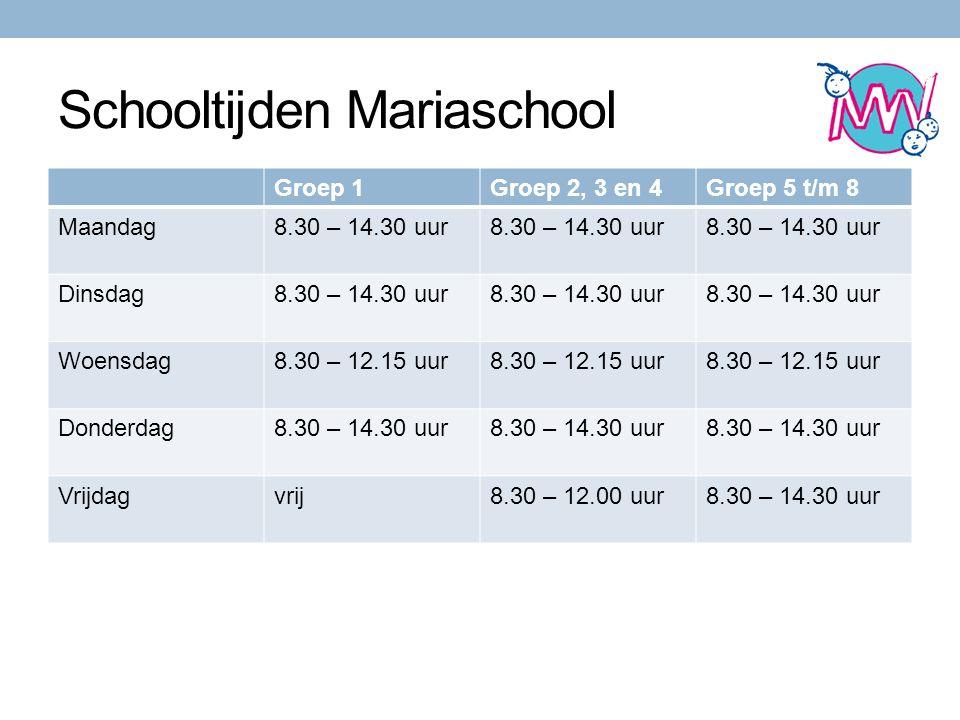 Schooltijden Mariaschool