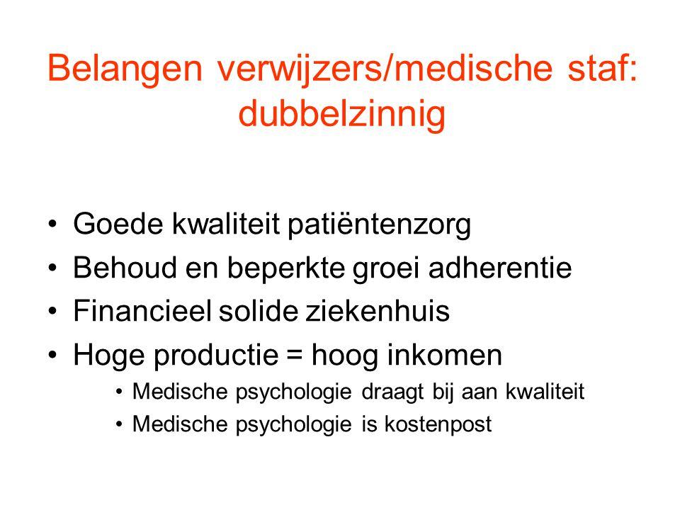 Belangen verwijzers/medische staf: dubbelzinnig