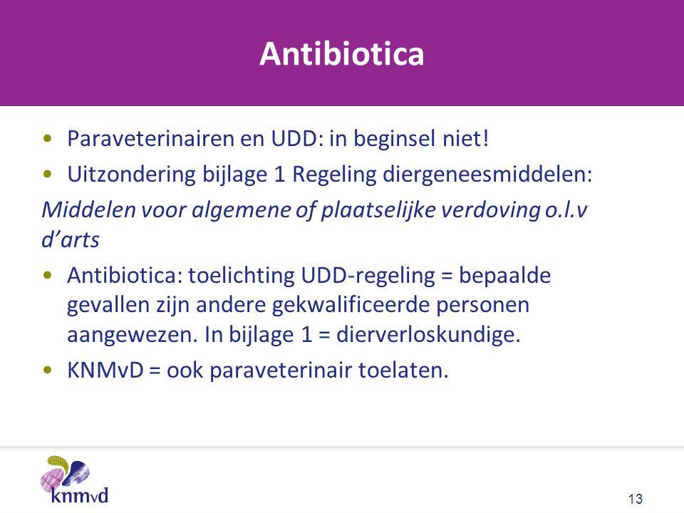 Antibiotica Paraveterinairen en UDD: in beginsel niet!