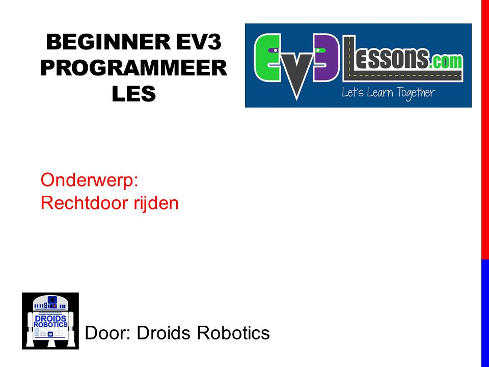 BEGINNER EV3 Programmeer Les