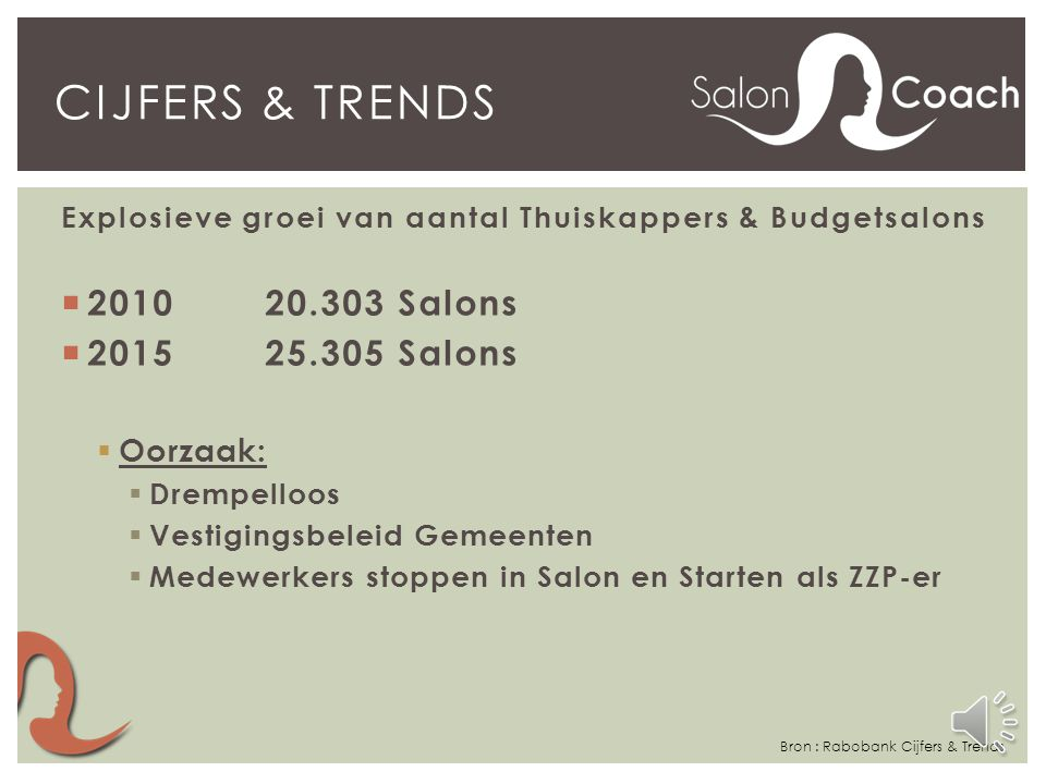 Cijfers & trends 2010 20.303 Salons 2015 25.305 Salons Oorzaak: