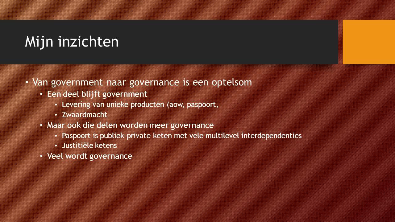 Mijn inzichten Van government naar governance is een optelsom