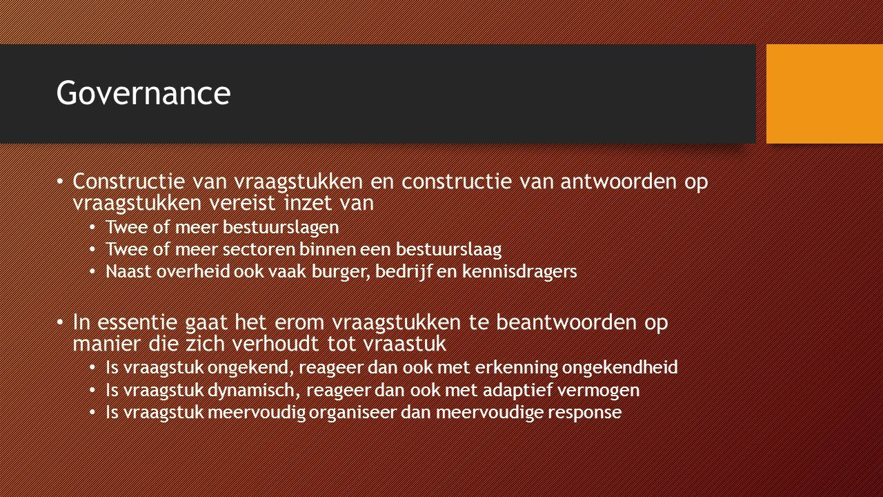 Governance Constructie van vraagstukken en constructie van antwoorden op vraagstukken vereist inzet van.