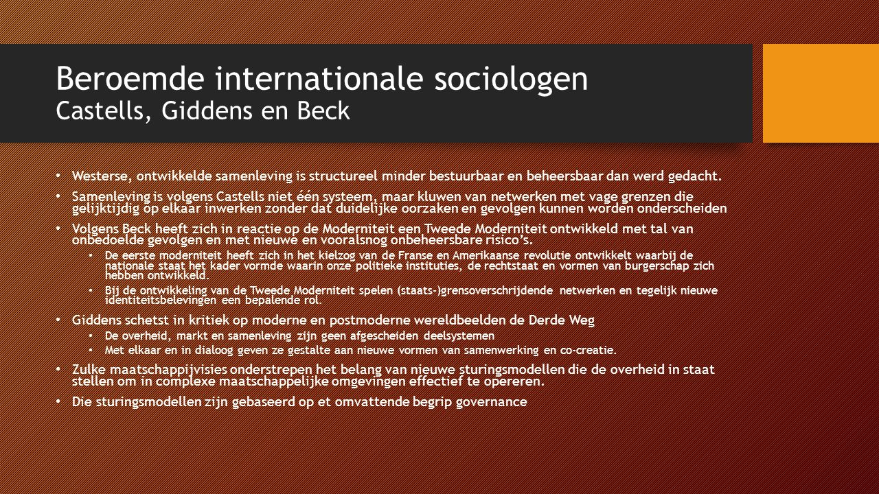 Beroemde internationale sociologen Castells, Giddens en Beck