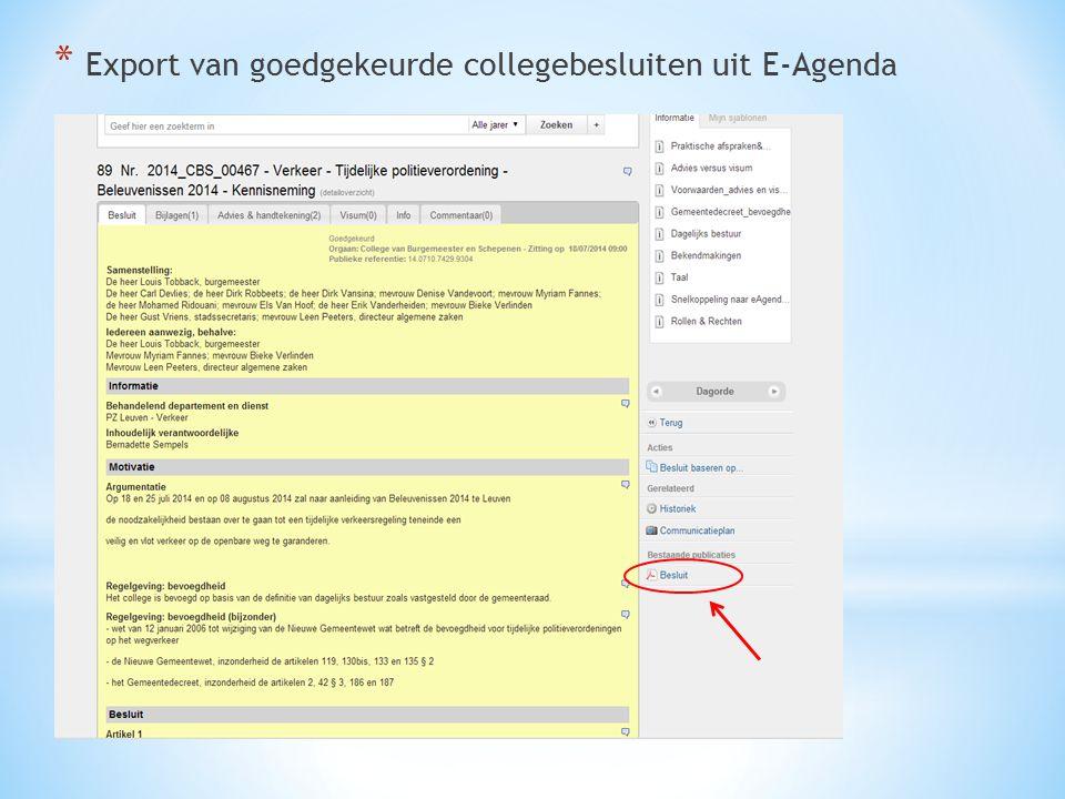 Export van goedgekeurde collegebesluiten uit E-Agenda