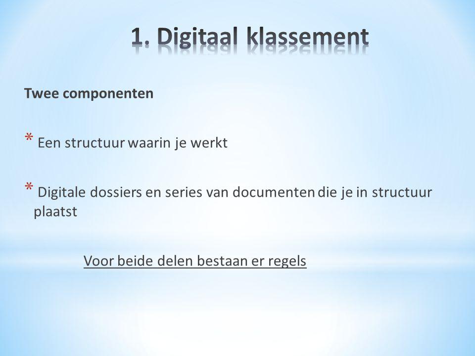 1. Digitaal klassement Twee componenten Een structuur waarin je werkt