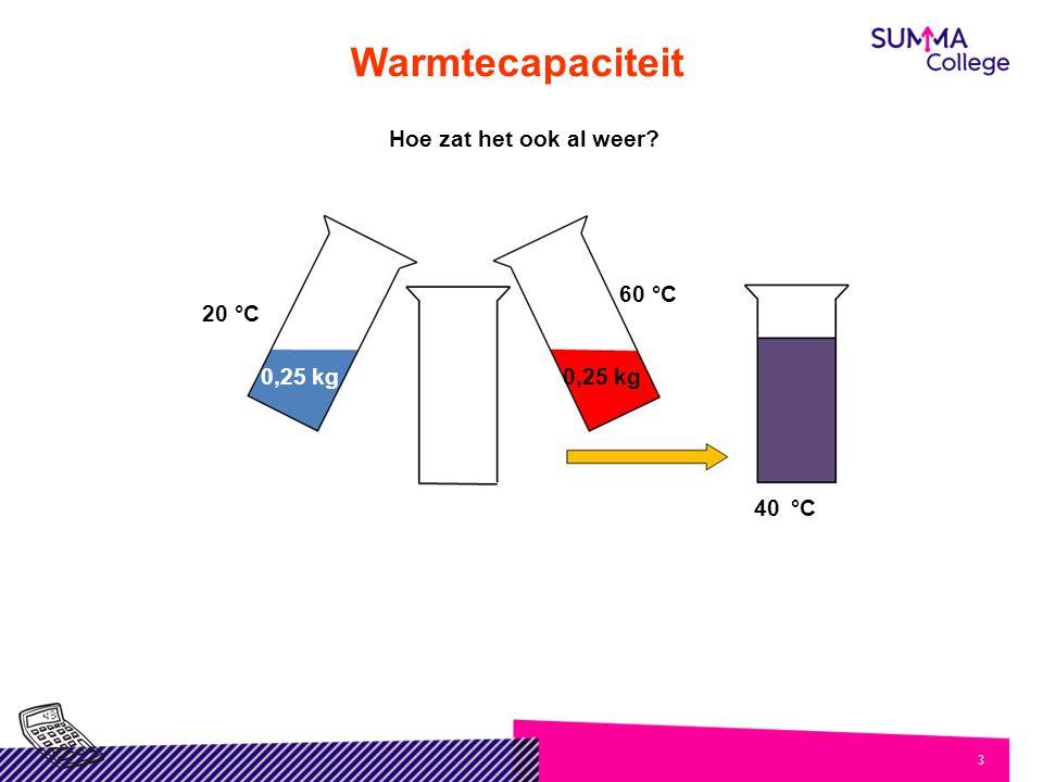 Warmtecapaciteit Hoe zat het ook al weer 0,25 kg 20 °C 60 °C °C 40