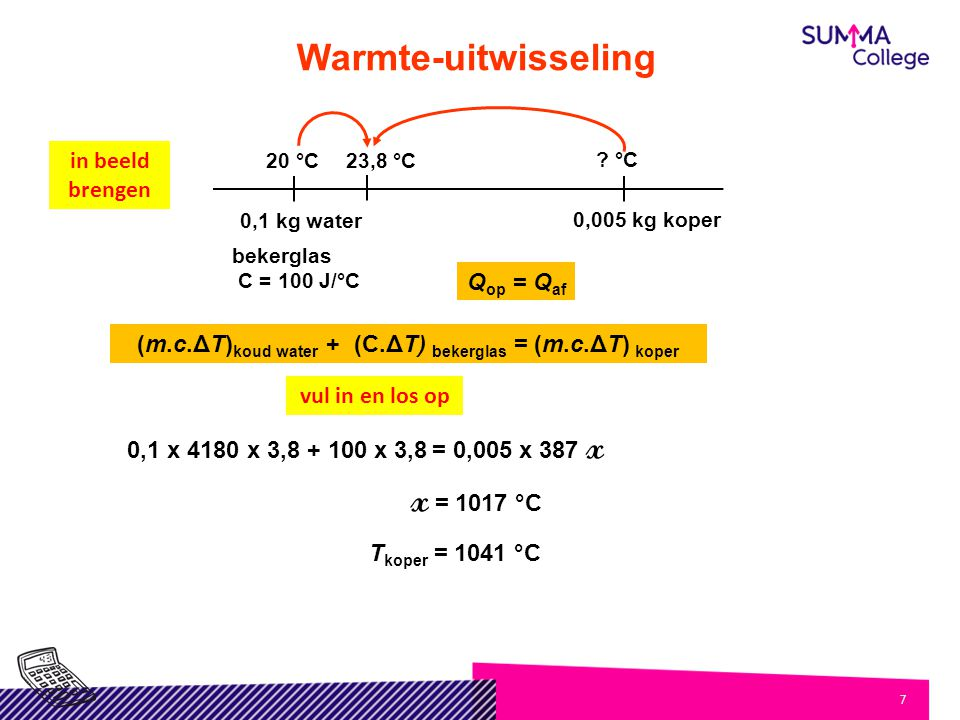 (m.c.ΔT)koud water + (C.ΔT) bekerglas = (m.c.ΔT) koper