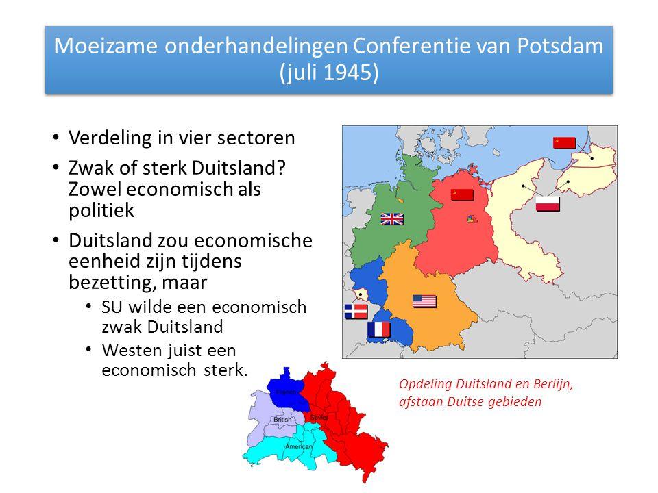 Moeizame onderhandelingen Conferentie van Potsdam (juli 1945)