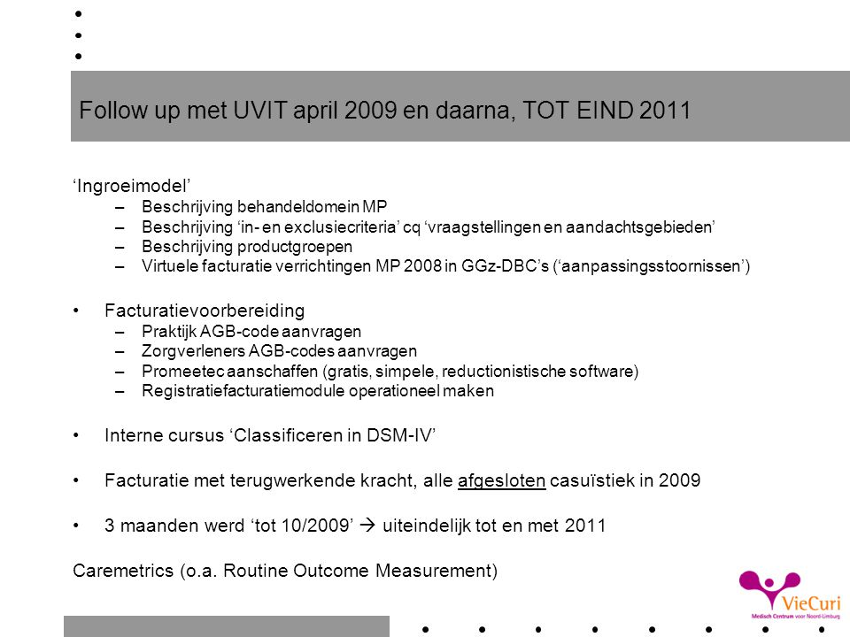 Follow up met UVIT april 2009 en daarna, TOT EIND 2011