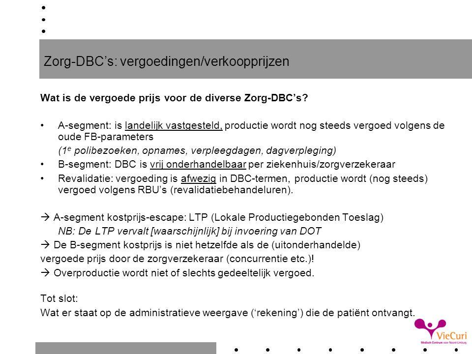 Zorg-DBC's: vergoedingen/verkoopprijzen
