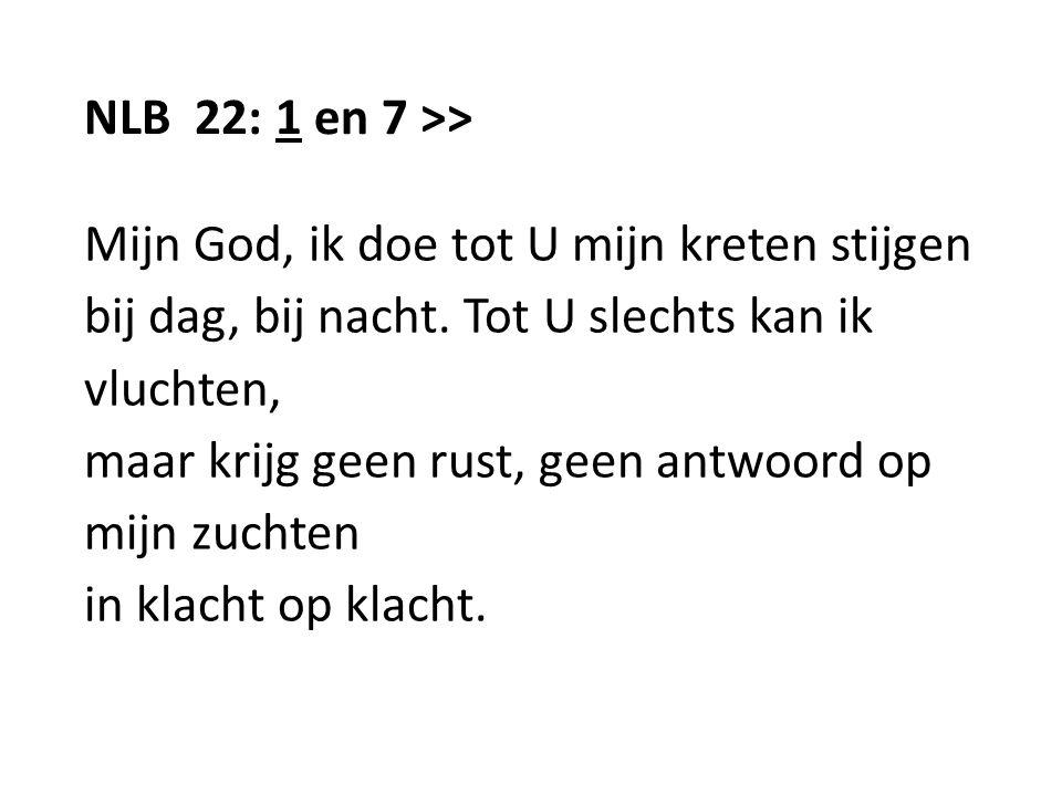 NLB 22: 1 en 7 >> Mijn God, ik doe tot U mijn kreten stijgen. bij dag, bij nacht. Tot U slechts kan ik.