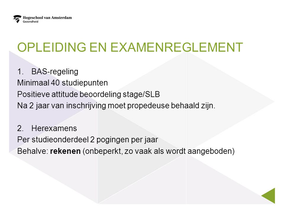 Opleiding en examenreglement