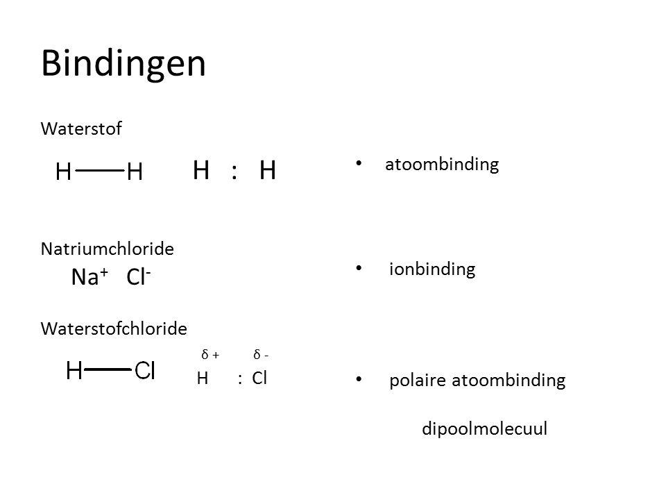 Bindingen Waterstof H : H Natriumchloride Na+ Cl- Na+ :Cl Waterstofchloride δ + δ - H : Cl atoombinding.