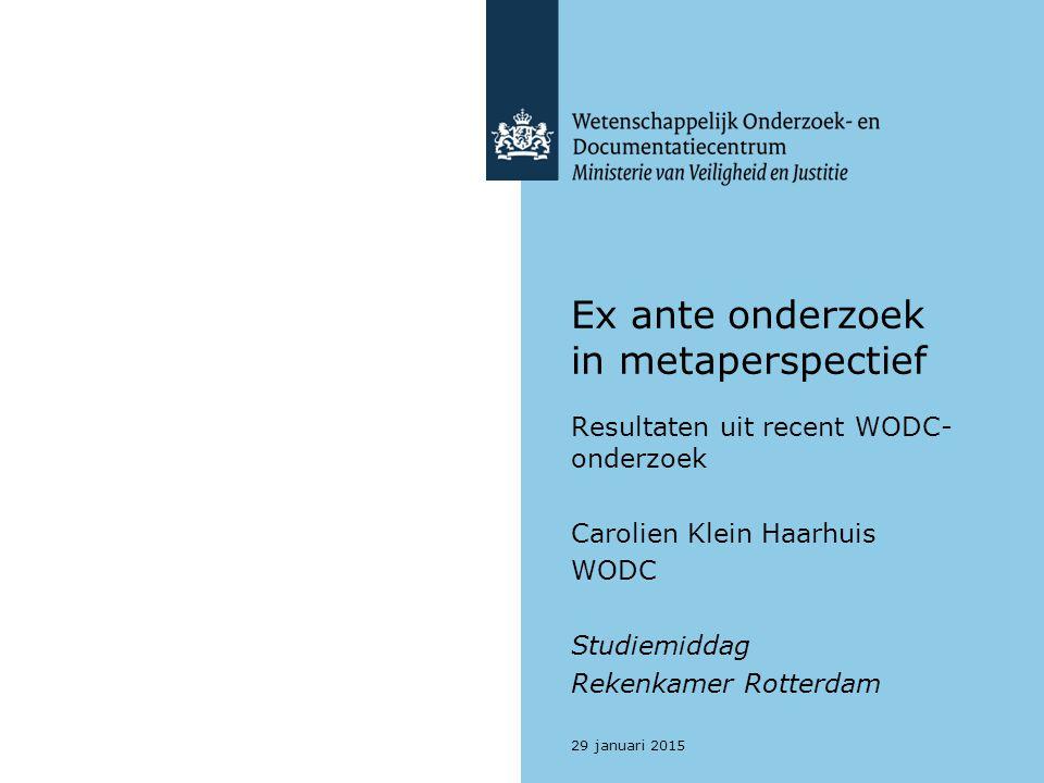 Ex ante onderzoek in metaperspectief