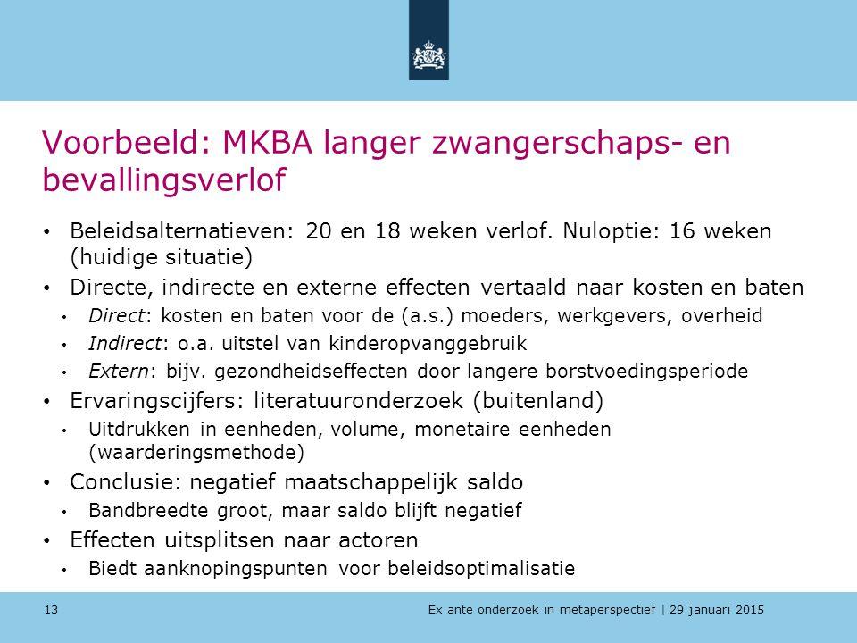 Voorbeeld: MKBA langer zwangerschaps- en bevallingsverlof