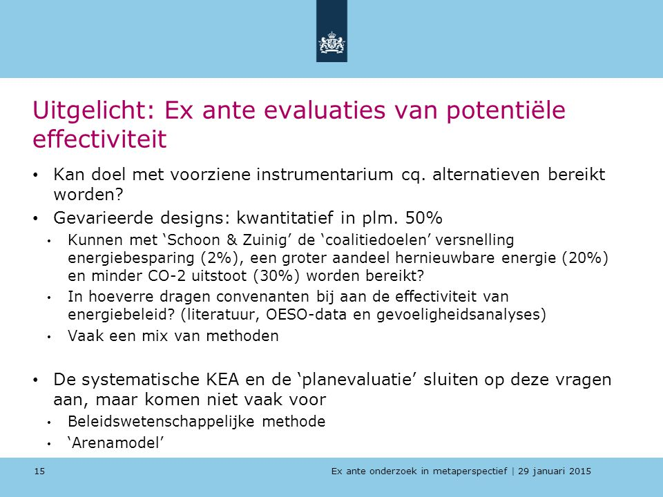 Uitgelicht: Ex ante evaluaties van potentiële effectiviteit