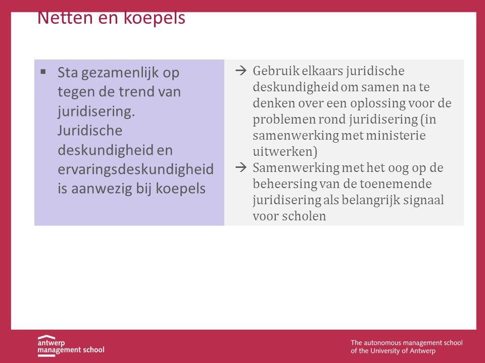 Netten en koepels Sta gezamenlijk op tegen de trend van juridisering. Juridische deskundigheid en ervaringsdeskundigheid is aanwezig bij koepels.