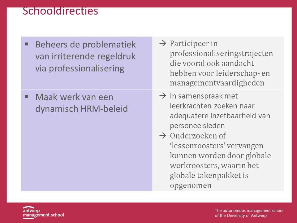 Schooldirecties Beheers de problematiek van irriterende regeldruk via professionalisering.