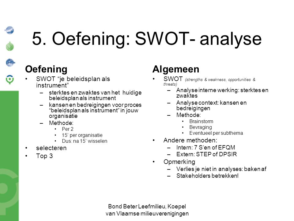 5. Oefening: SWOT- analyse