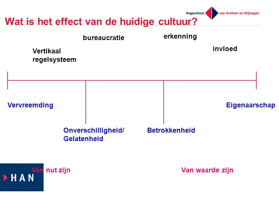 Wat is het effect van de huidige cultuur