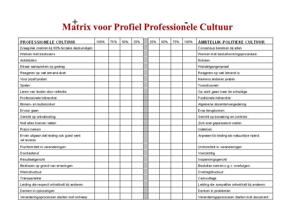 Matrix voor Profiel Professionele Cultuur