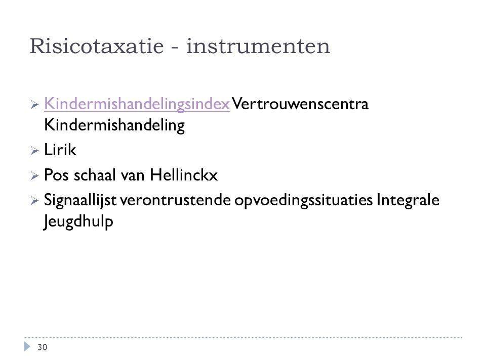Risicotaxatie - instrumenten