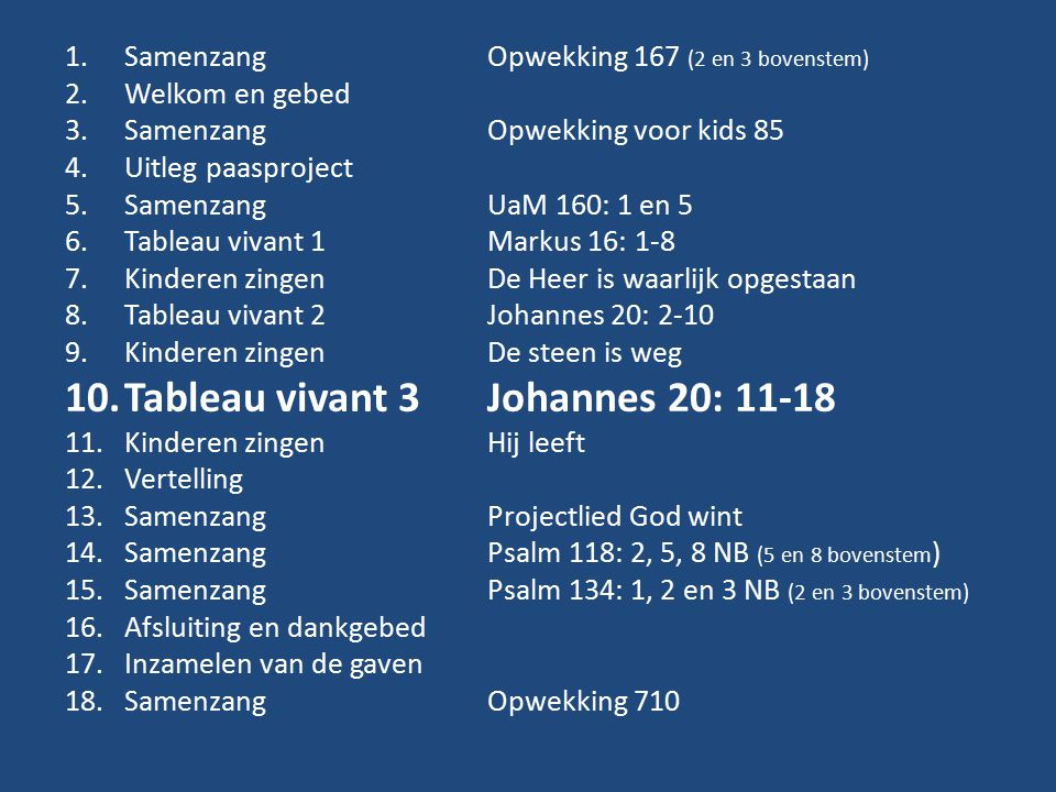 Tableau vivant 3 Johannes 20: 11-18