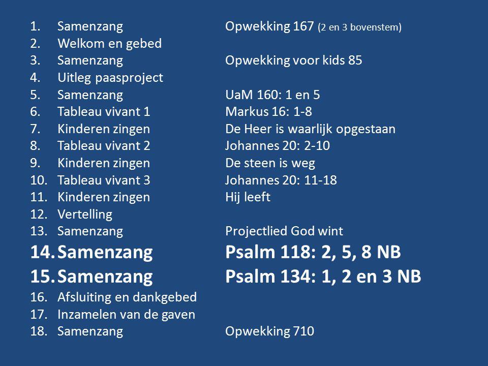 Samenzang Psalm 118: 2, 5, 8 NB Samenzang Psalm 134: 1, 2 en 3 NB