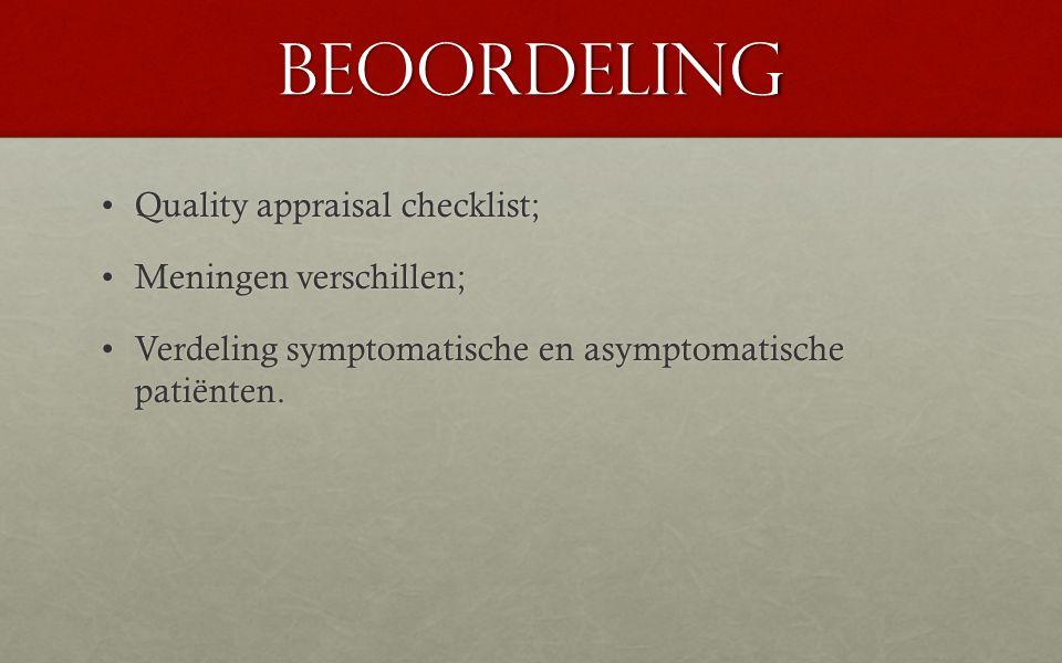 Beoordeling Quality appraisal checklist; Meningen verschillen;