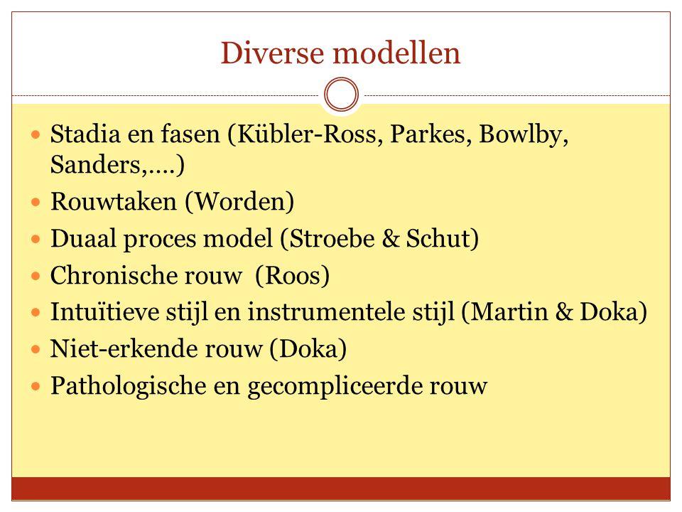 Diverse modellen Stadia en fasen (Kübler-Ross, Parkes, Bowlby, Sanders,….) Rouwtaken (Worden) Duaal proces model (Stroebe & Schut)