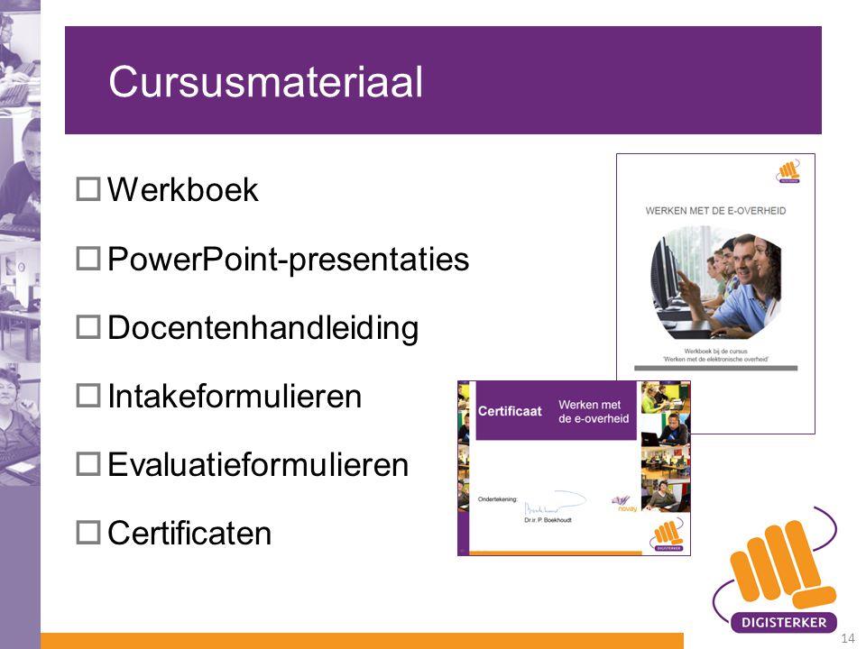 Cursusmateriaal Werkboek PowerPoint-presentaties Docentenhandleiding