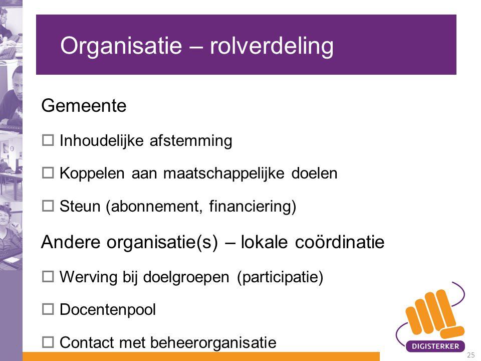Organisatie – rolverdeling