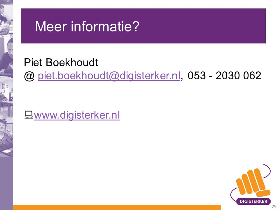 Meer informatie Piet Boekhoudt