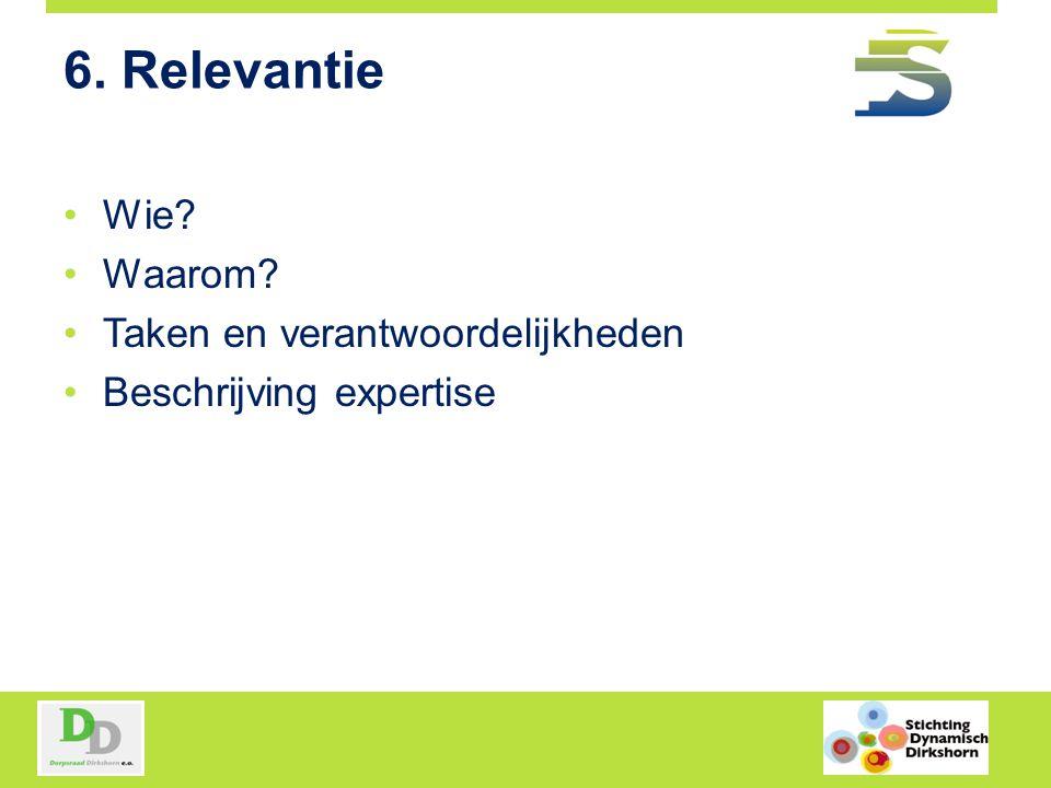 6. Relevantie Wie Waarom Taken en verantwoordelijkheden