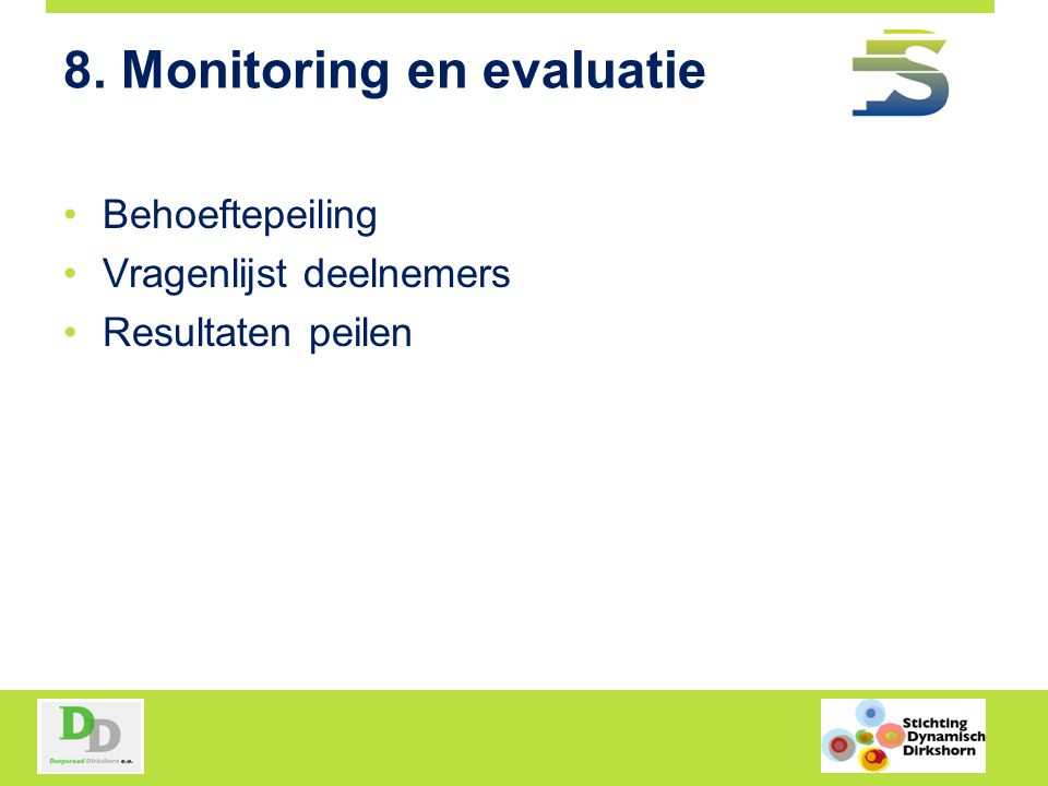 8. Monitoring en evaluatie