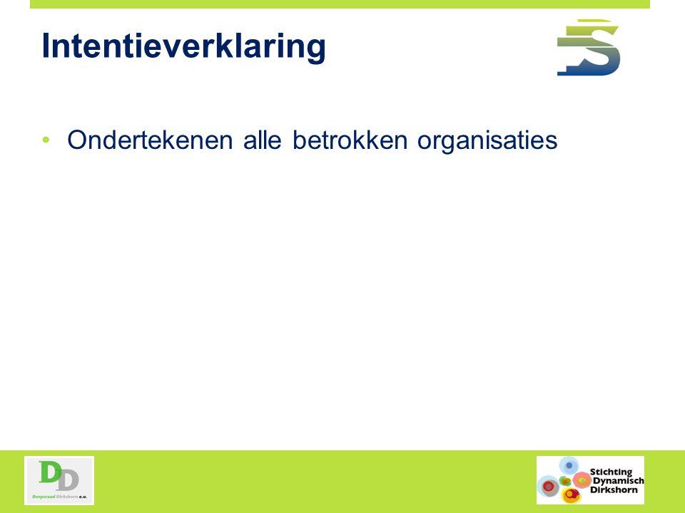 Intentieverklaring Ondertekenen alle betrokken organisaties