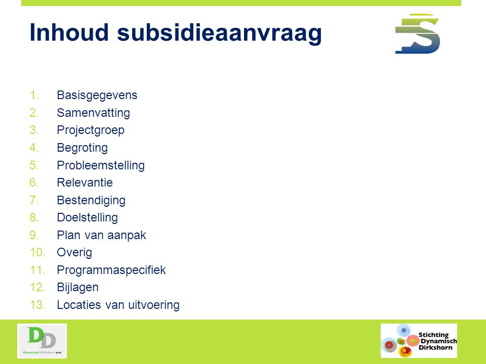 Inhoud subsidieaanvraag
