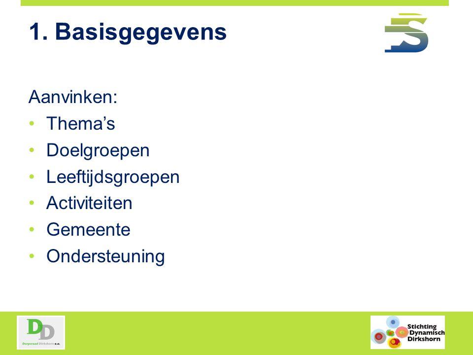 1. Basisgegevens Aanvinken: Thema's Doelgroepen Leeftijdsgroepen