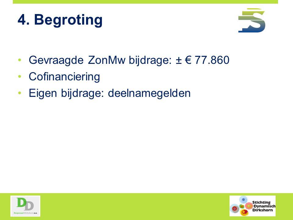 4. Begroting Gevraagde ZonMw bijdrage: ± € 77.860 Cofinanciering