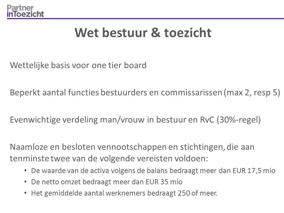 Wet bestuur & toezicht Wettelijke basis voor one tier board