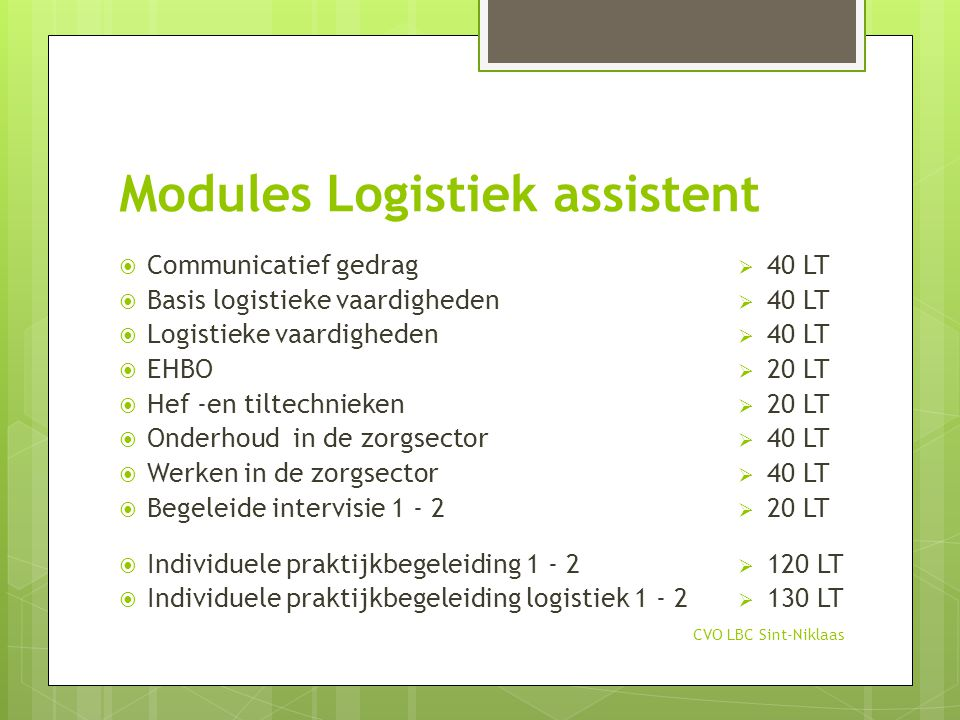 Modules Logistiek assistent