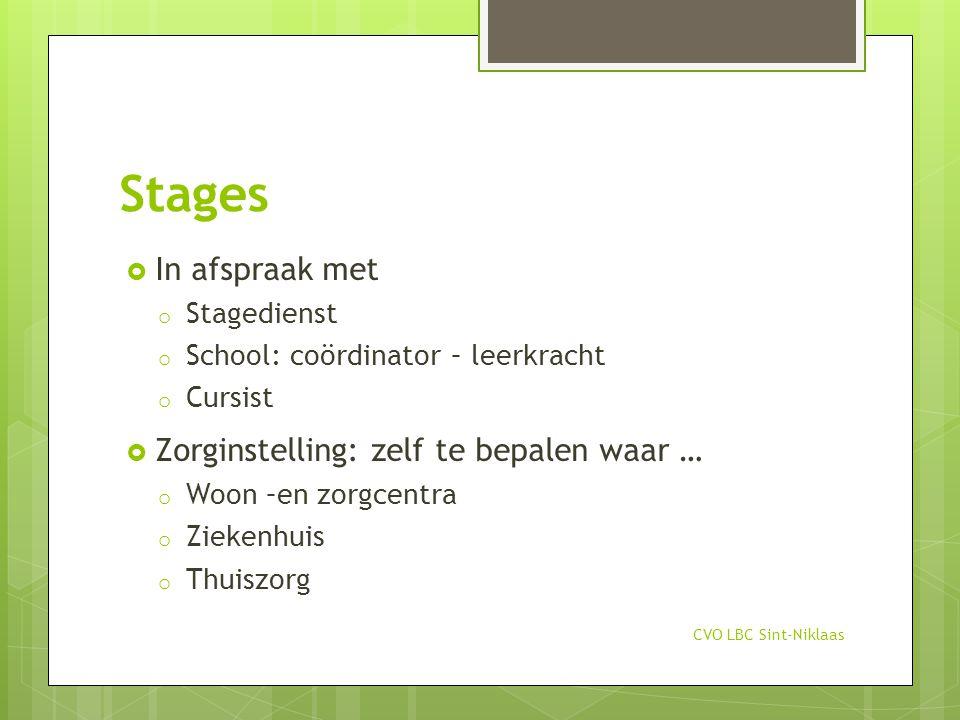 Stages In afspraak met Zorginstelling: zelf te bepalen waar …