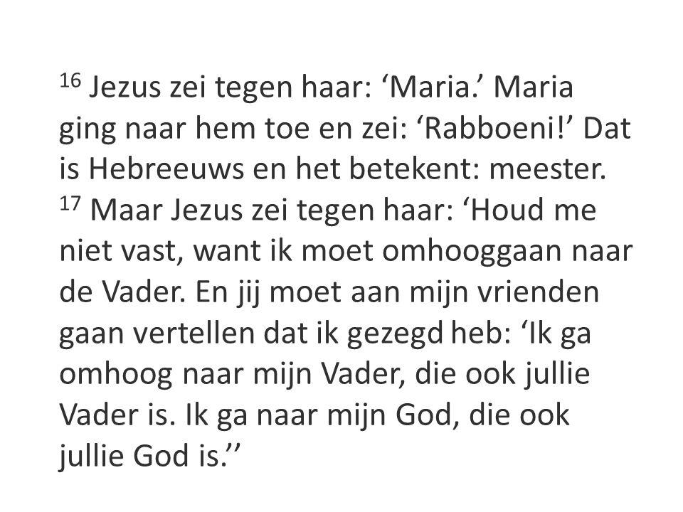 16 Jezus zei tegen haar: 'Maria