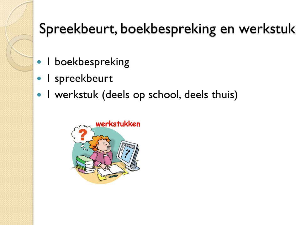 Spreekbeurt, boekbespreking en werkstuk